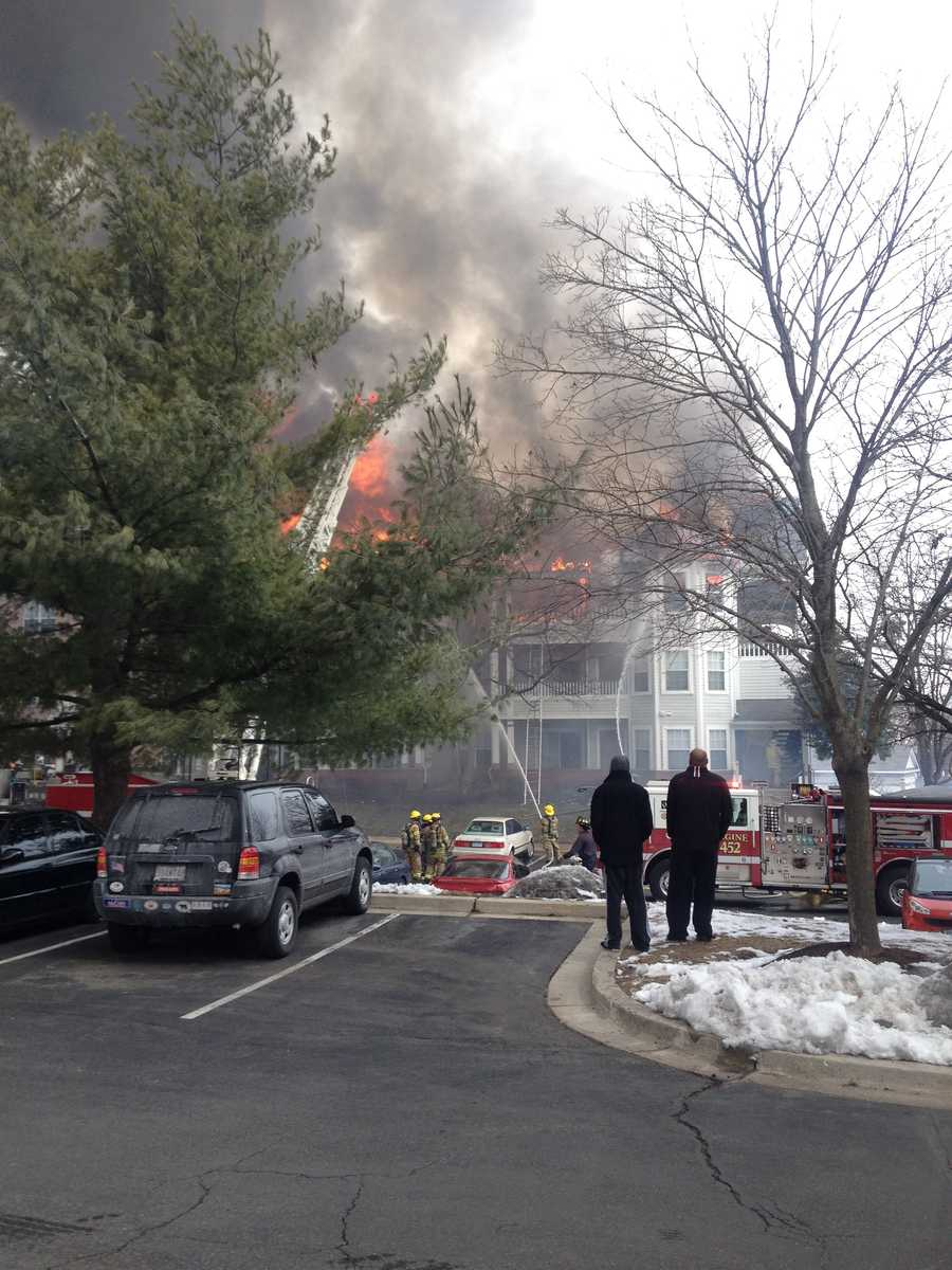 Firefighters are called to a three-alarm apartment fire in Odenton, Anne Arundel County.