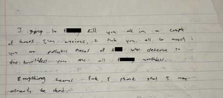 Suspect's journal entry