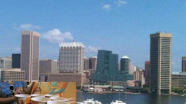 Baltimore skyline with booze cups