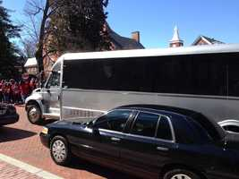 March 13: More than a dozen people were handcuffed and put in this bus, charged with obstruction.