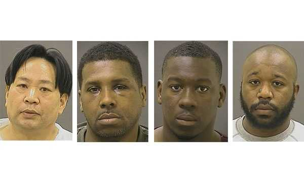 Charles Yang (left), Anthony Holman (second), Errol Carthy (third), Travis von Hendricks (right). Police said Jane Yang's photo was not available.