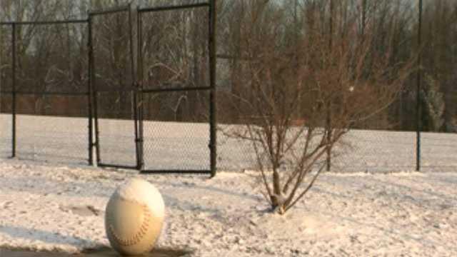 snow-covered baseball field