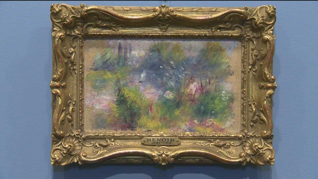 "Pierre-Auguste Renoir's painting ""On the Shore of the Seine,"" from about 1879, was unveiled Thursday as the centerpiece of a new exhibition, ""The Renoir Returns."" It opens to the public Sunday. Nearly 63 years after it was stolen and then kept mysteriously hidden for decades it resurfaced in 2012."