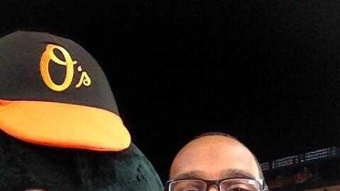 WBAL-TV 11's Jason Newton with the Oriole Bird!