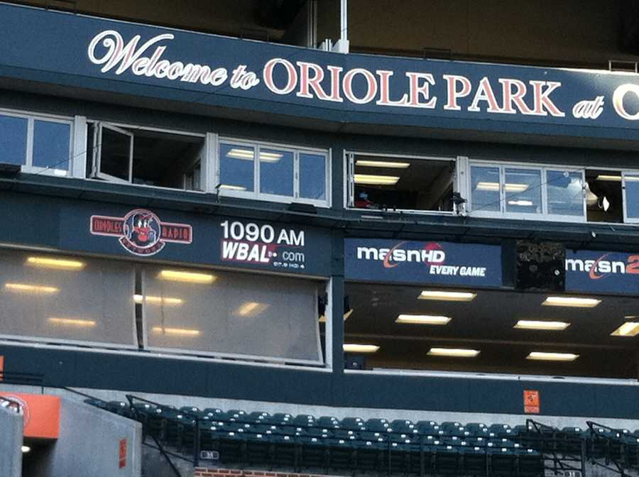 The WBAL broadcast booth at Oriole Park at Camden Yards, where Joe Angel and Fred Manfra will call the Opening Day Orioles game