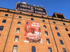 The warehouse at Oriole Park at Camden Yards at sunrise on Opening Day for the Orioles