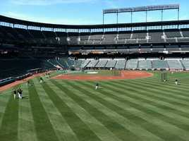 Orioles and Red Sox players warming up on Opening Day