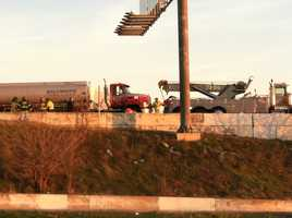 One of the crashes on Interstate 95 that closed both sides of the highway near Caton Avenue on Tuesday morning.