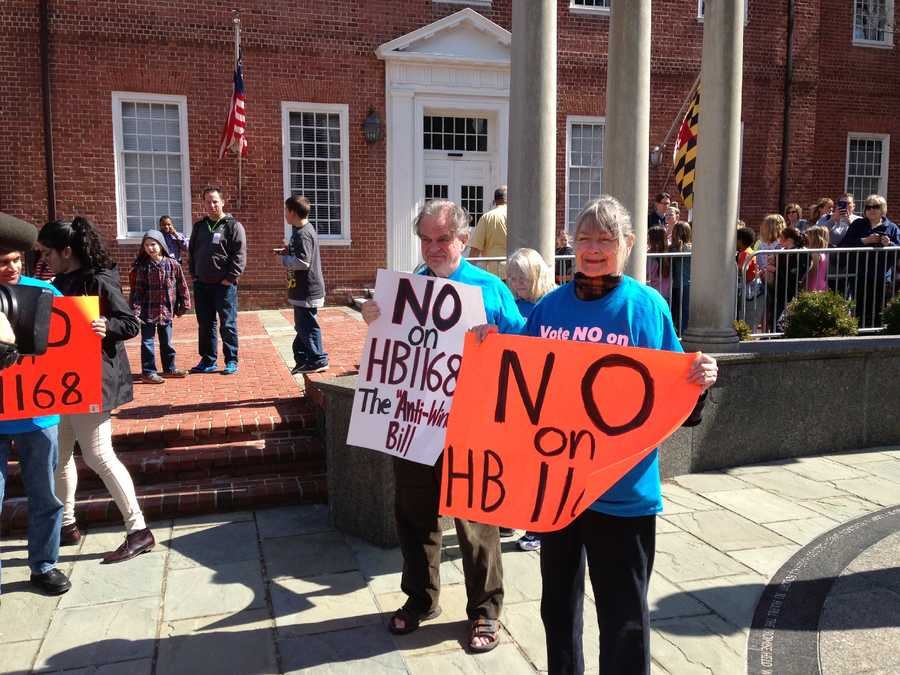 April 1: Farmers protest at Lawyers Mall, opposing legislation to delay or cancel a wind power operation slated for southern Maryland. Naval Air Station Patuxent River opposes wind turbines because it would interfere with radar systems there.
