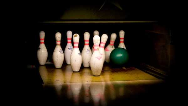 Bowling pins knocked down