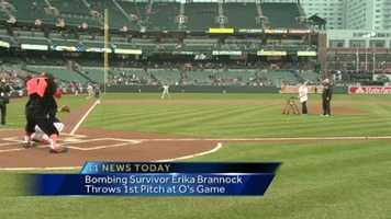 Boston Marathon survivor and Towson school teacher Erika Brannock is still recovering after losing her leg in that attack, but on Thursday night, she took a time-out for a special moment with the Baltimore Orioles.