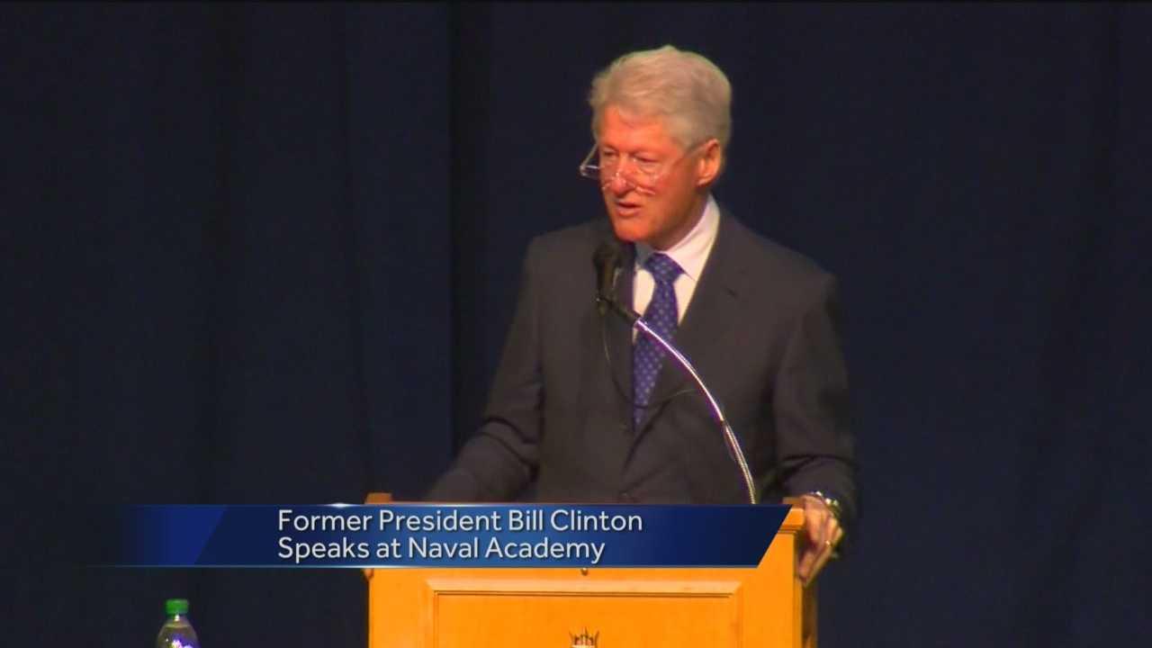 Clinton speaking at USNA