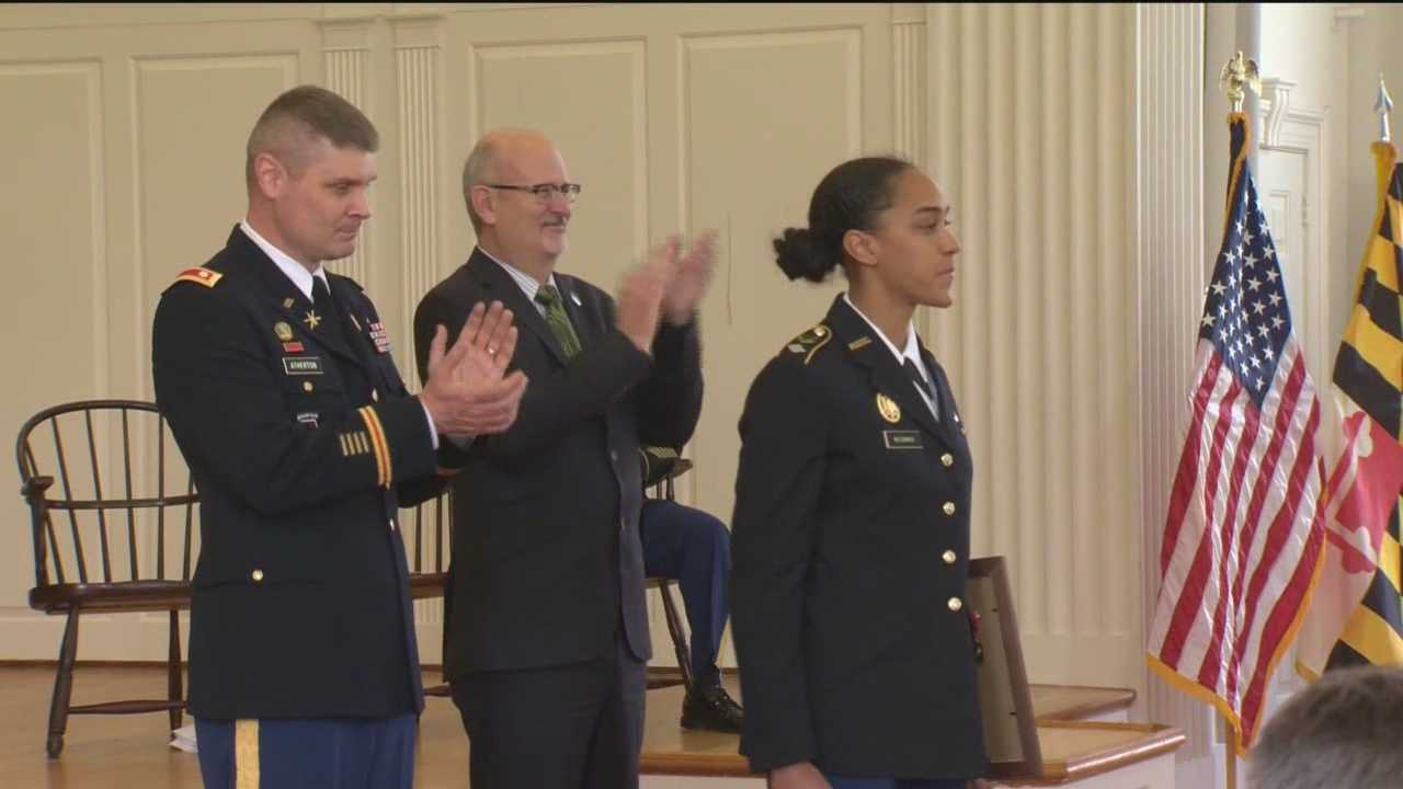 Jasmine McCormick receives the Legion of Valor award, the most prestigious award given to ROTC cadets. Only seven were given nationwide.