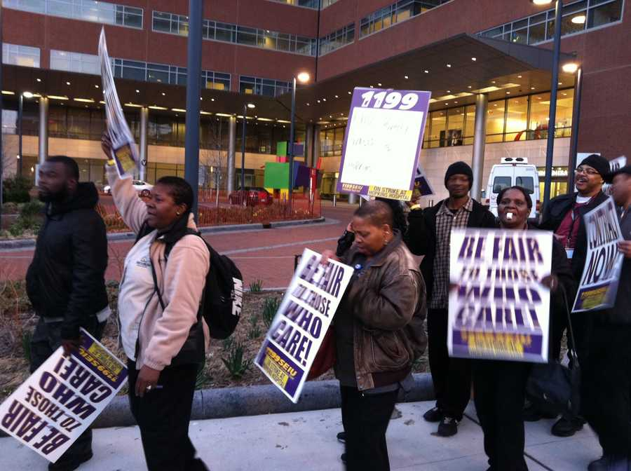 Employees of Johns Hopkins Hospital have hit the picket line in response to failed union negotiations.