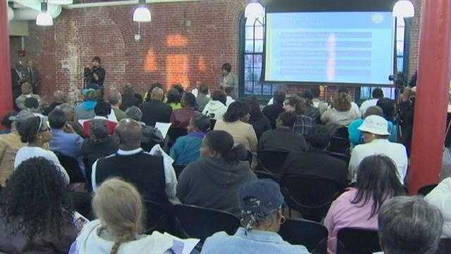 Mayor Stephanie Rawlings-Blake attends a crime forum town hall in east Baltimore.