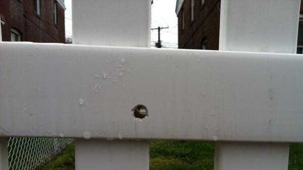 A bullet hole can be found on a fence in the 100 block of Chestnut Street.