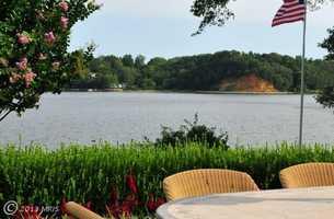 The home boasts panoramic water views.