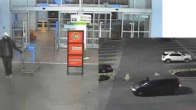 Police are looking for the man in the left side of the photo and/or the van on the right side in connection with a robbery and shooting at the Walmart in Laurel in November 2012.