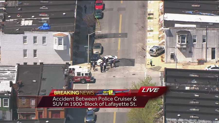 City police are investigating a crash in East Baltimore that involves an SUV and a police cruiser.