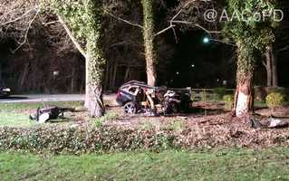 Anne Arundel County police said two people were critically injured in a crash in which authorities believe alcohol and speeding were factors.