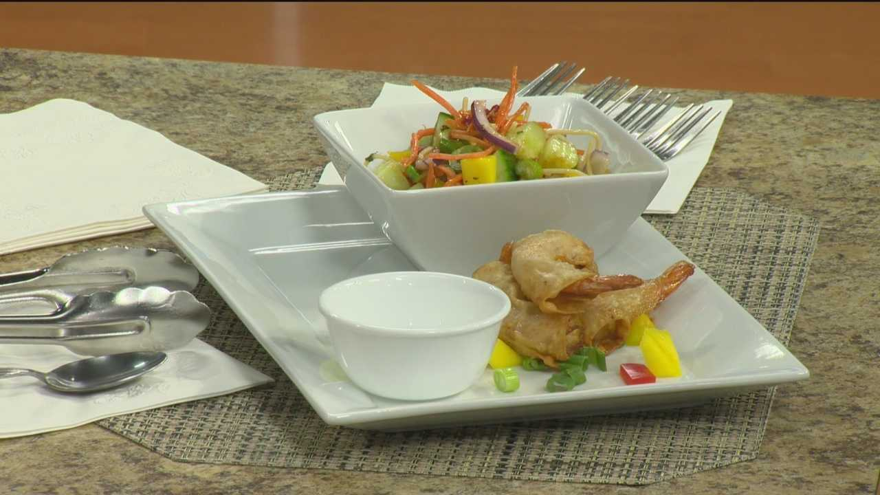 Chef Mookie Hicks shares his recipe for wonton-wrapped cajun shrimp with sweet Thai chile moonshine.