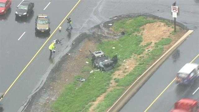 A car crash on Interstate 95 northbound slows drivers late Tuesday morning.