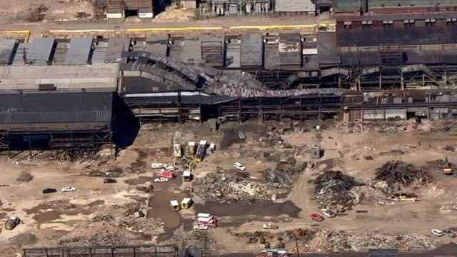 Several people are injured in a building collapse at the old Beth Steel plant.