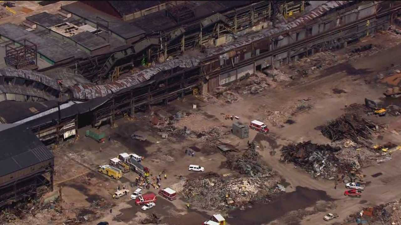 A building collapse at the former Bethlehem Steel plant injures as many as nine people working on the facility.