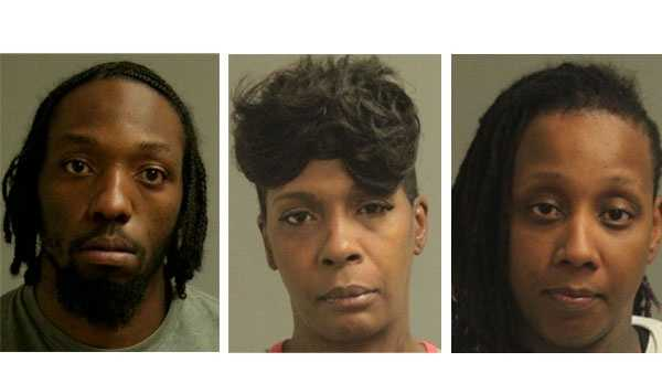 Hikeem Johnson (left), Keisha Kosh (middle), Ashley Dunston (right). Police said no booking photo was not available Nakia Vass.