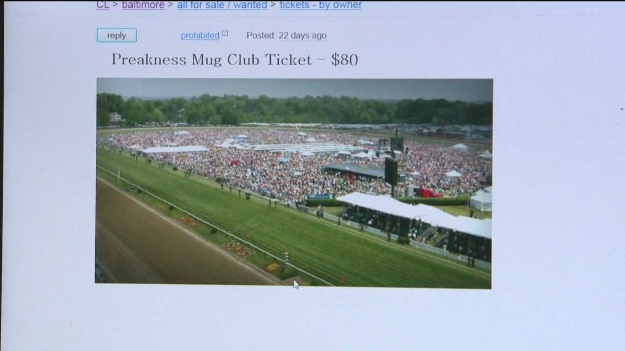 An ad on Craigslist offers Preakness tickets