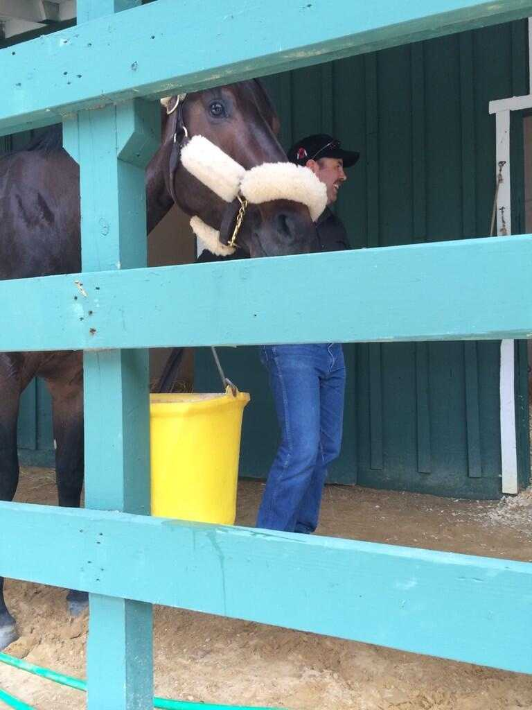 May 12: Ride on Curlin arrives at Pimlico Race Course.