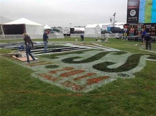 May 13: Painting the field in preparation for the Preakness