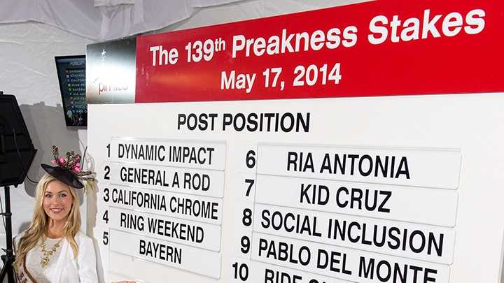 May 14: The posts are set! Kentucky Derby-winner and heavy Preakness favorite California Chrome gets the third post.