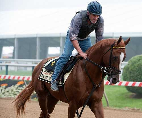 May 15: During his first morning at Pimlico Thursday, Pablo Del Monte galloped 1 1/4 miles through the fog under exercise rider Mike Clark.