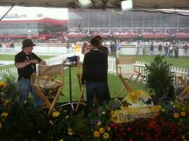 May 16: Crews assemble the set where Donna Hamilton and Gerry Sandusky will anchor WBAL-TV 11's coverage of the Preakness Stakes.
