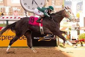 May 16: PTK LLC's Our Epiphany leads from start to finish in the $100,000 Hilltop Stakes for 3-year-old fillies Friday at Pimlico Race Course.