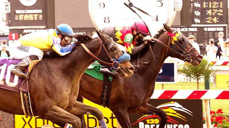 May 17: Matthew Brown, N R S Stable and Tim L. Keefe's Lunar Rock battles Who Dat Boy into defeat and held off late-charging No Brakes to win the $40,000 Deputed Testamony Starter Handicap for registered Maryland-breds on Preakness Saturday at Pimlico Race Course.
