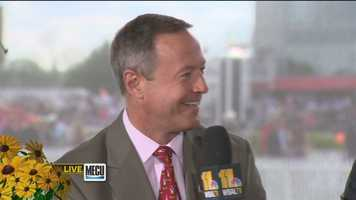 Gov. Martin O'Malley stops by the broadcast tent to speak with Gerry Sandusky and Donna Hamilton on his last Preakness as governor.