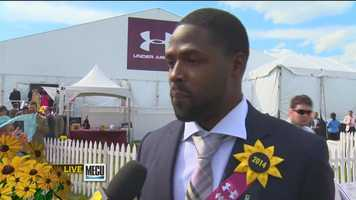 Baltimore Ravens star Torrey Smith credits his wife for his good looks at the Preakness.