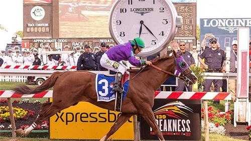 May 17: California Chrome crossing 139th Preakness finish line