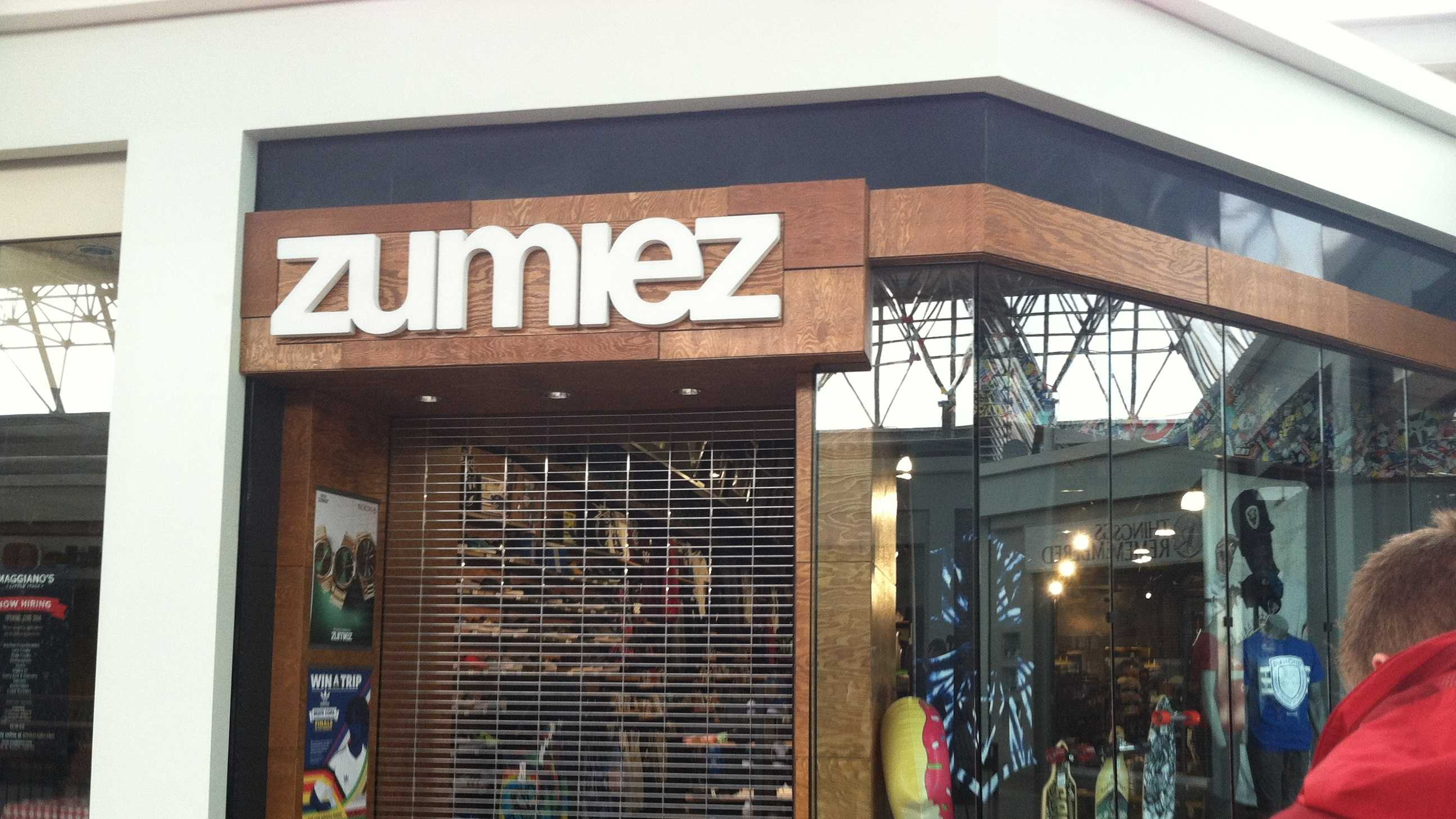 The remodeled Zumiez reopens.
