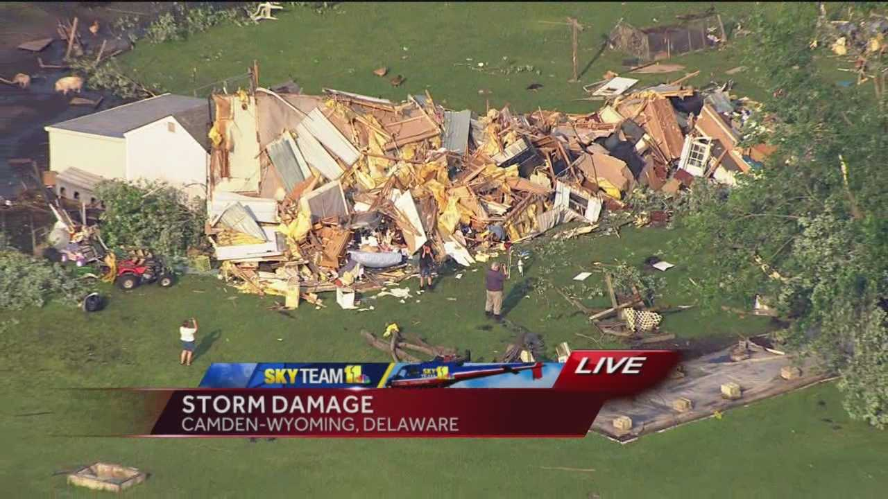 SkyTeam 11 tracks storm damage from the Camden-Wyoming, Del., area after severe storms passed through the area.