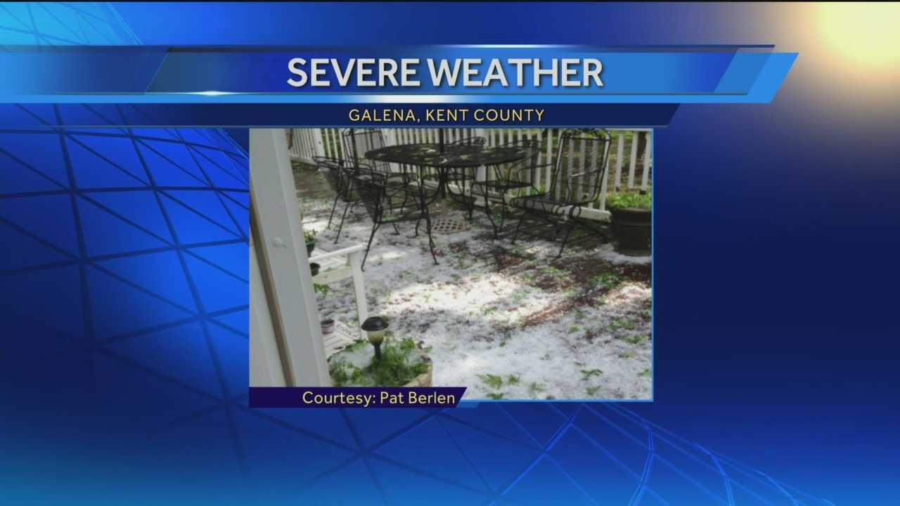 Hail reported in Kent County