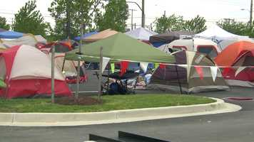 Roughly 180 people had camped out since Wednesday morning for the grand opening's signature event in which the first 100 customers in line get free Chick-fil-A for a year.