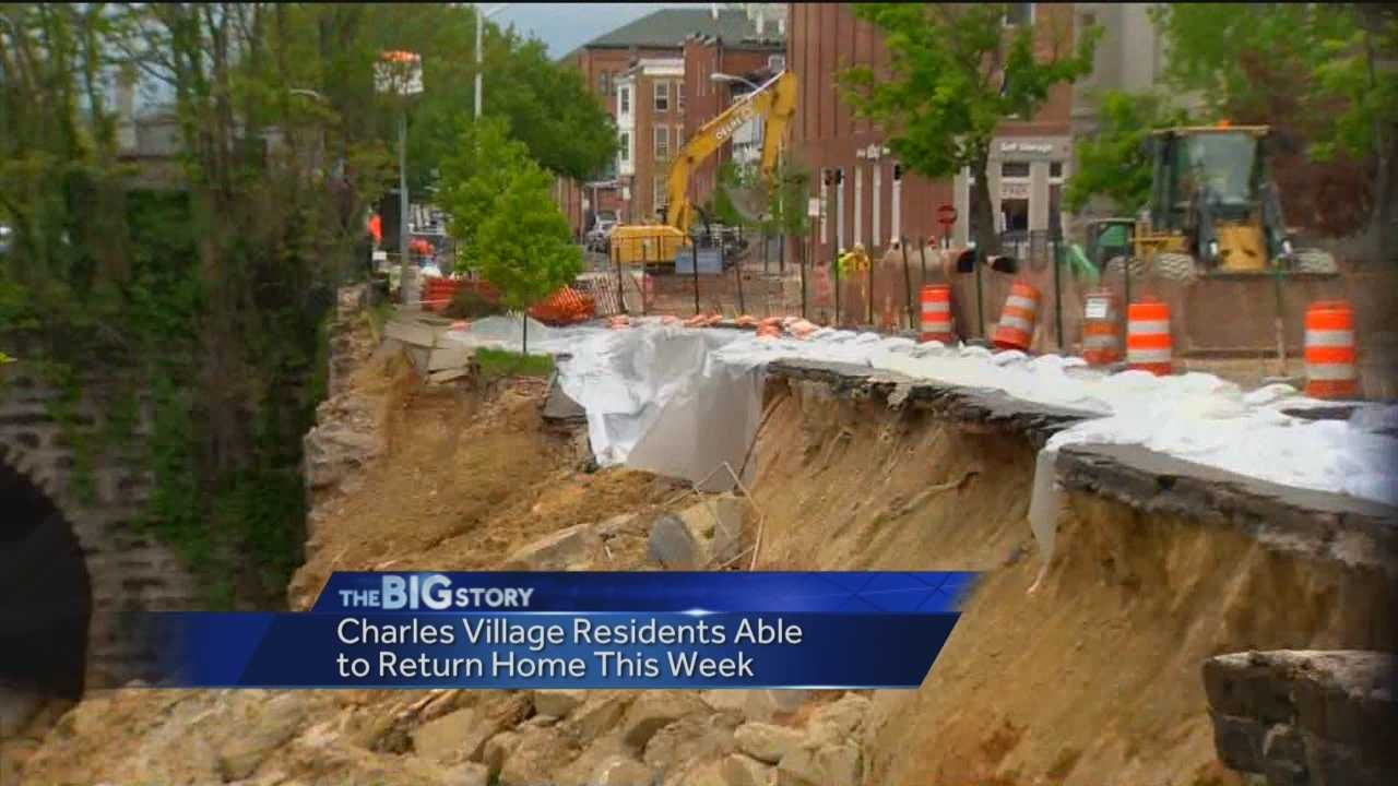 Baltimore officials say residents who live near the street collapse on 26th Street will soon be able to return home.