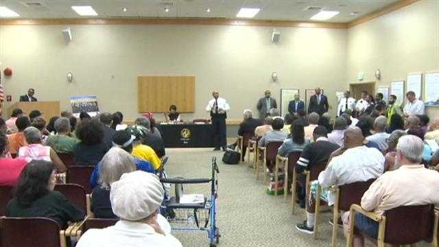 Police Commissioner Anthony Batts addresses residents of northeast Baltimore regarding crime.