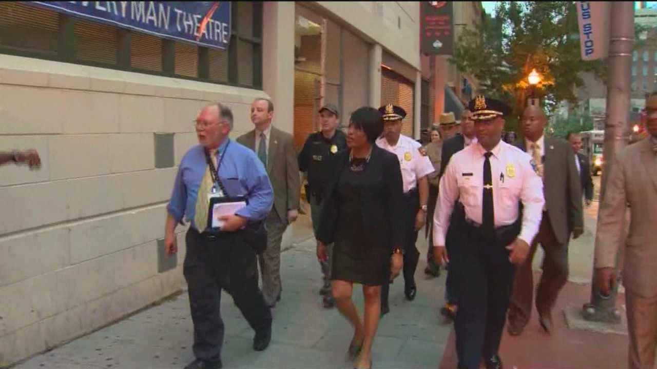 Mayor Stephanie Rawlings-Blake and Police Commissioner Anthony Batts take their annual pre-summer stroll through downtown Baltimore.