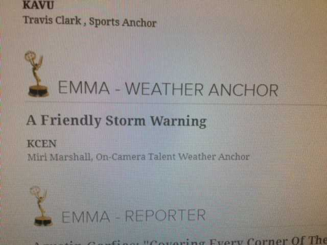 Miri won an EMMA Award (Excellence in My Market) for Best Weather Anchor.