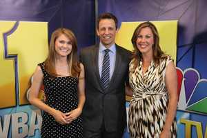 WBAL-TV 11 meteorologist Ava Marie and reporter Jennifer Franciotti snap a picture with Seth Meyers.