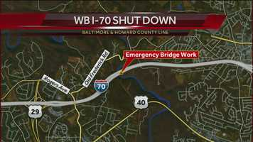 Emergency work has forced the closure of the bridge carrying westbound Interstate 70 between Baltimore and Howard counties, according to the State Highway Administration.